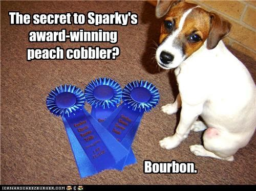 The secret to Sparky's award-winning peach cobbler? Bourbon.