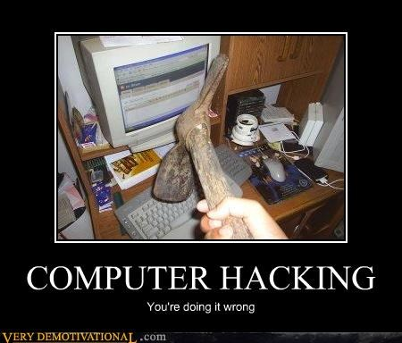 computer,hacking,hilarious,pick axe