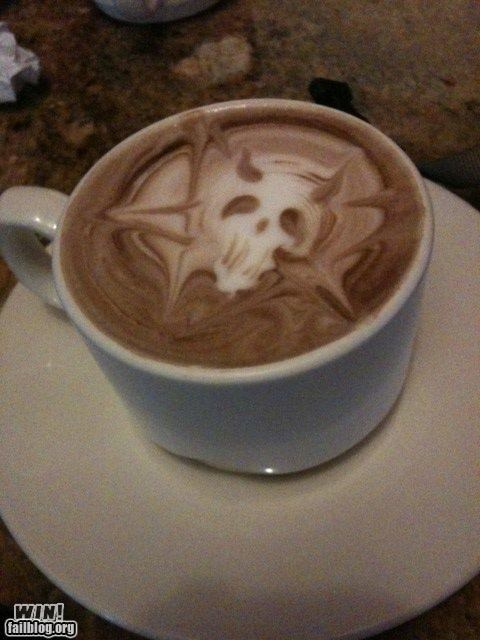 coffee design latte metal pentagram skull - 4732241664