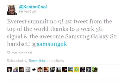 kenton cool,mount everest,Samsung,Tech,twitter