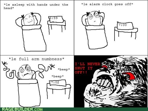 alarm,clock,numb,Rage Comics,shut off,waking up