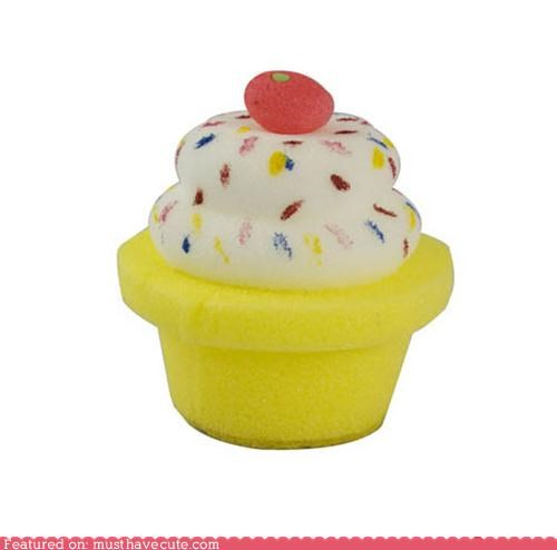 bath cherry cupcake shower soap sponge - 4732774656