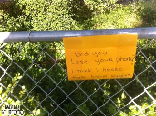 bushes,lost,mobile phone,ringtones,signs