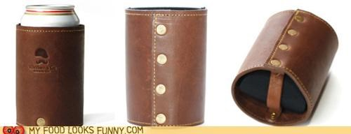 beer koozie,heavy duty,leather,snaps