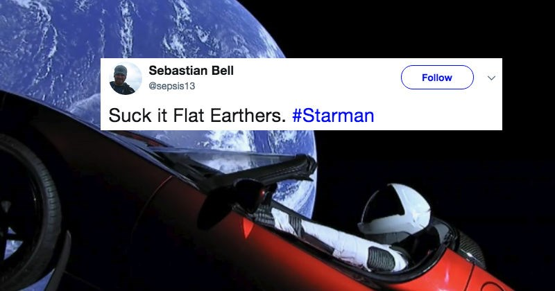 Flat earthers react on Twitter after Elon Musk's successful Falcon Heavy X launch.