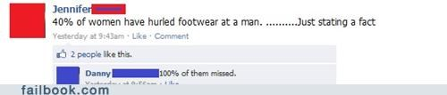 funny Facebook screen grab of how girls always throw shoes, and a comment about how they probably all missed.
