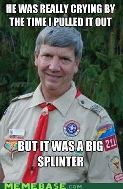 bait,creepy scoutmaster,puns,scout,scout master,switched,wood