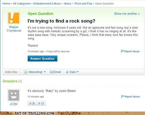 Bieber lyrics rock song Yahoo Answer Fails - 4736115968
