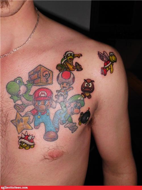 toad,Videogames,tattoos,super mario brothers,goomba,funny