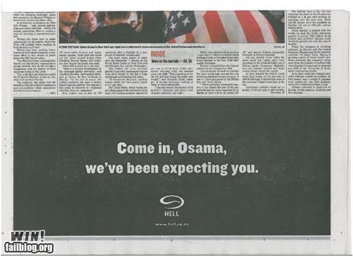 ads hell newspaper osama pizza