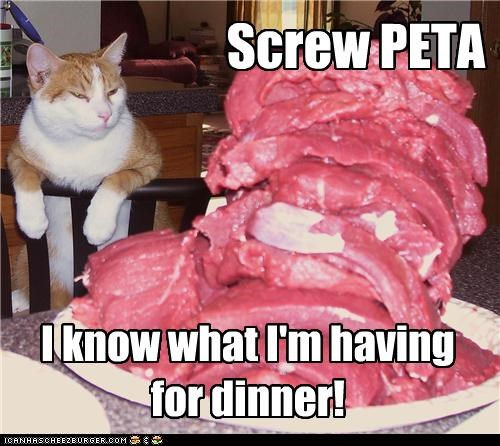 Screw PETA I know what I'm having for dinner!