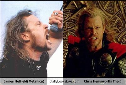 chris hemsworth,James Hetfield,metallica,movies,musicians,Thor