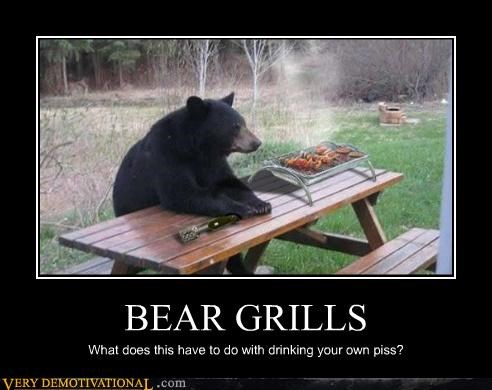 animals,bear grill,bear grylls,cooking piss,Pure Awesome