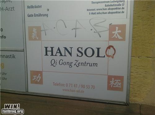 graffiti hacked Han Solo nerdgasm star wars - 4739593472