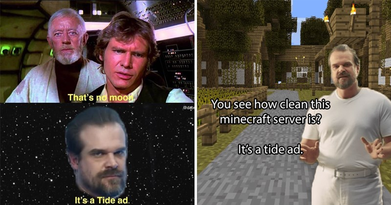 """Funny memes about the """"it's a tide ad"""" Tide advertisement from the super bowl starring david harbour."""