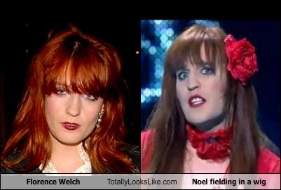 comedians,drag,florence and the machine,Florence Welch,musicians,Noel Fielding,wig