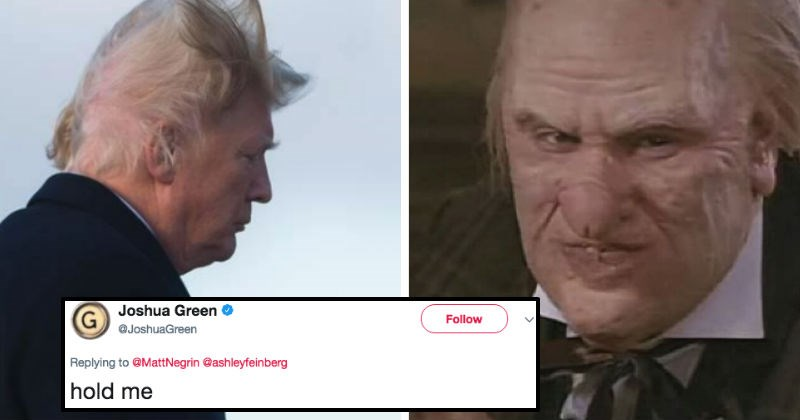 Donald Trump is getting trolled after a video of hilarious hair-raising moment surfaces online.