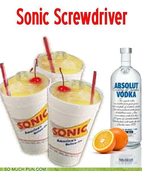 accessory double meaning doctor who orange juice screwdriver sonic sonic screwdriver tool vodka puns - 4742452992