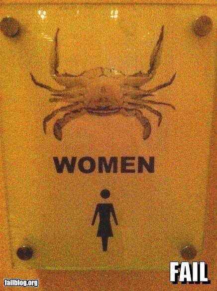 bathroom,crabs,failboat,gender bender,g rated,signs,women