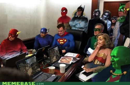 league of justice,Memes,president,situation room,superfriends,superheroes