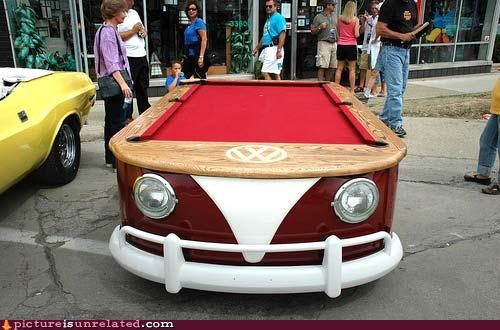 awesome,car,pool table,travels,wtf