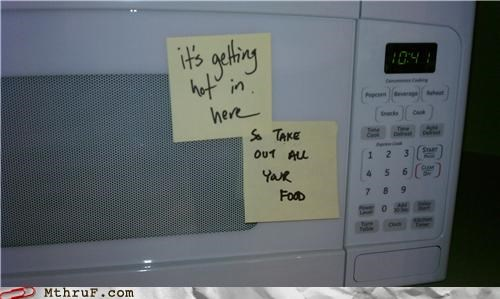 break room,microwave,post it