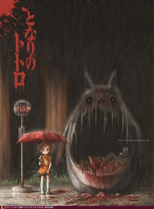 art,bloody,creepy,totoro,wtf
