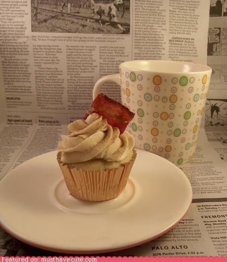 bacon,breakfast,coffee,cupcake,epicute,french toast,morning,newspaper
