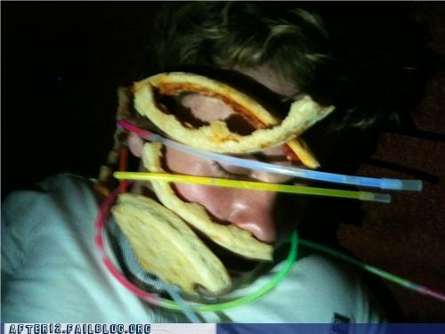 glow sticks,passed out,pizza