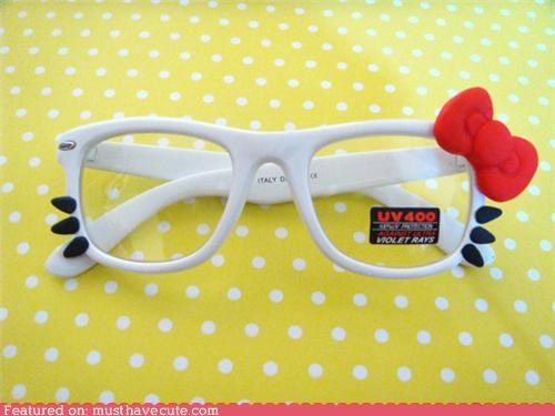 bow frames glasses hello kitty whiskers - 4743281664