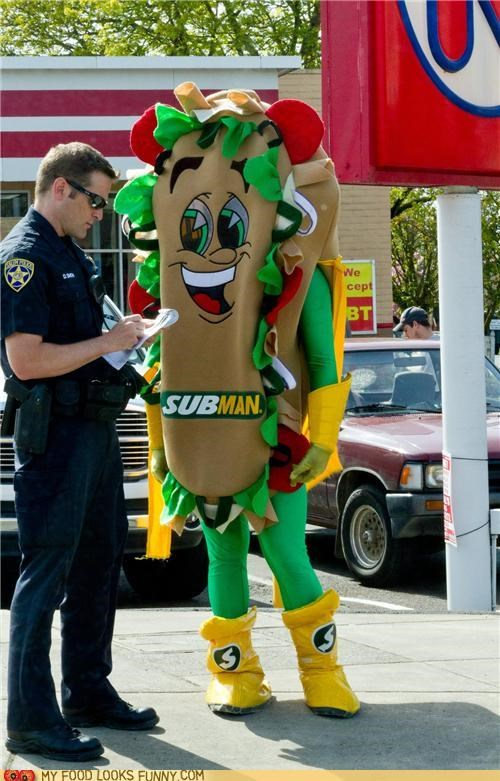 costume crime police sandwich Subway suit ticket