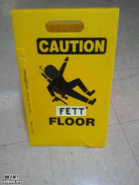 boba fett,nerdgasm,star wars,wet floor sign