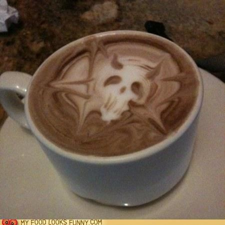 art coffee foam latte milk pentagram satanic skull