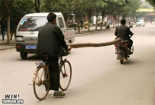 bicycles great idea rides towing wood
