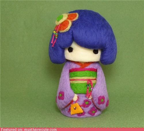 art felt girl kimono needle felting sculpture - 4743698432