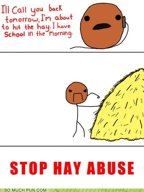 abuse,figure of speech,hay,hit they hay,hitting,literalism,saying,stop