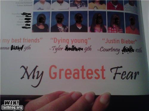 answers,fears,justin bieber,quotes,yearbook