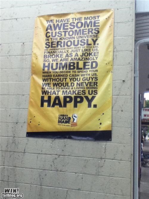 awesome,banner,customer service,customers,signs
