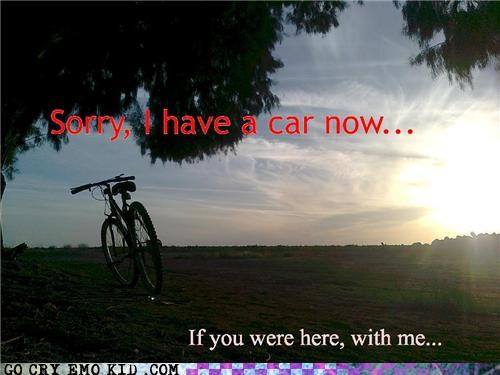alone,bike,car,emolulz,Sad