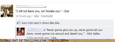 facebook,god,quotes,rick roll
