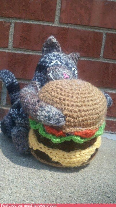 Amigurumi burger cat cheezburger happy kitty love - 4746423552