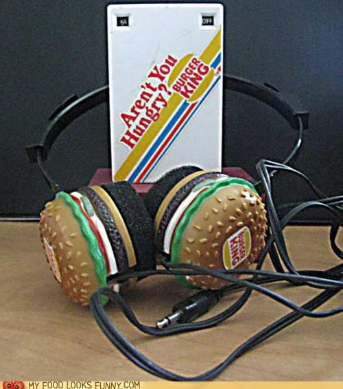 burger king burgers cheap headphones radio retro