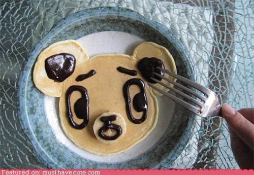 bear,chocolate,epicute,face,fork,nooooo,pancakes,scared