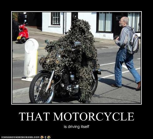 THAT MOTORCYCLE is driving itself