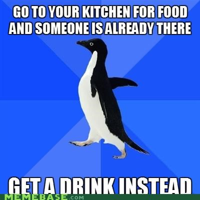 drink,food,hunger,kitchen,socially awkward penguin