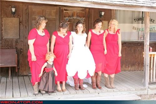 bride,bridesmaids,cowboy boots,funny wedding photos