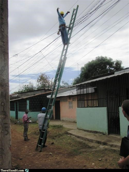 dangerous electricity ladder Professional At Work safety first - 4748665344