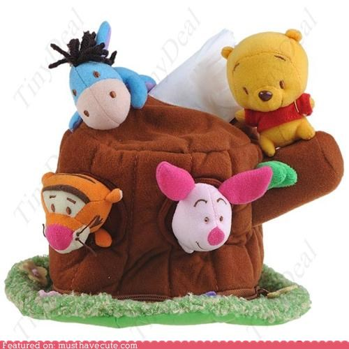 cover,eeyore,kleenex,piglet,stump,tigger,tissue,tree,winnie the pooh