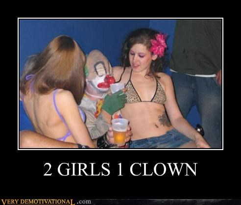 2 girls,clown,eww,Hall of Fame,wtf
