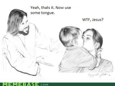 Babies jesus kissing LOL Jesus making out moms